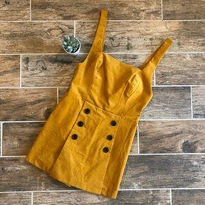 UO | Mustard Dalila Square Neck Skort Romper
